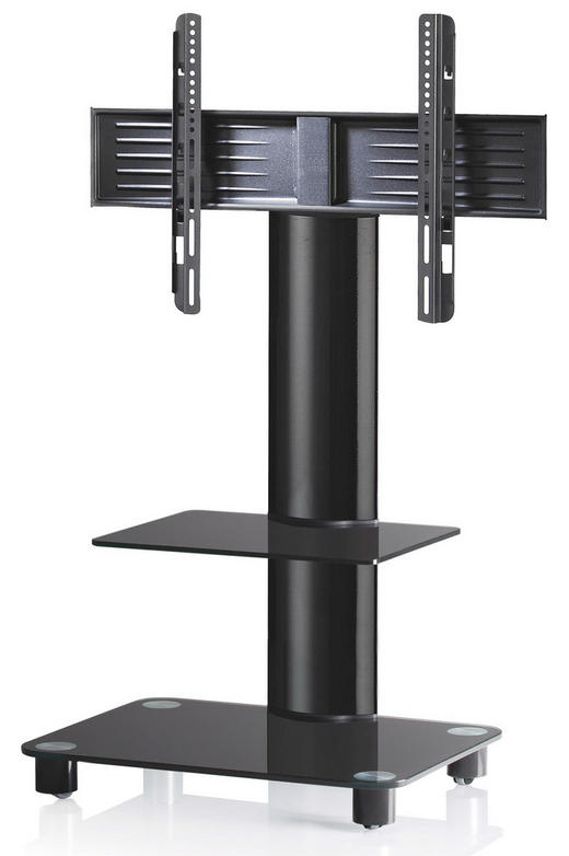 TV-RACK Schwarz - Schwarz, KONVENTIONELL, Glas/Metall (60/100/44cm)