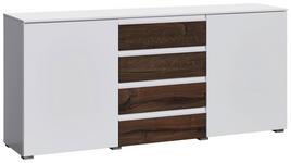 SIDEBOARD matt, Hochglanz Weiß, Eichefarben  - Eichefarben/Alufarben, Design, Holzwerkstoff/Kunststoff (182/84/41cm) - Novel