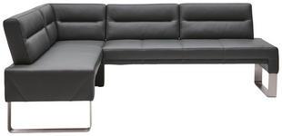 ECKBANK in Leder, Metall Edelstahlfarben, Graphitfarben - Edelstahlfarben/Dunkelgrau, Design, Leder/Metall (171/236cm) - Dieter Knoll