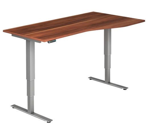 SCHREIBTISCH - Silberfarben/Zwetschgefarben, KONVENTIONELL, Holzwerkstoff/Metall (180/63,5-128,5/80/100cm)