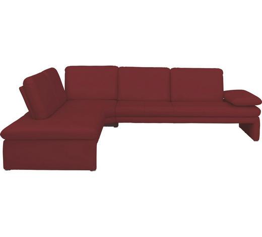 Ecksofa Rot Echtleder  - Rot/Silberfarben, Design, Leder/Metall (223/281cm) - Chilliano