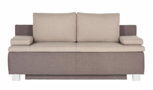 SCHLAFSOFA Braun, Hellbraun - Hellbraun/Chromfarben, Design, Textil/Metall (195/96/82cm) - NOVEL