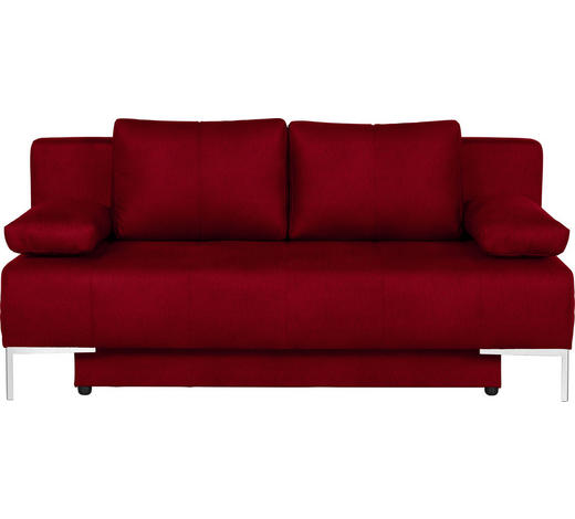 SCHLAFSOFA in Textil Rot - Chromfarben/Rot, Design, Textil/Metall (193/85/89cm) - Carryhome