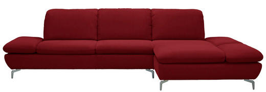 WOHNLANDSCHAFT Echtleder - Rot/Silberfarben, Design, Leder (315/200cm) - Chilliano