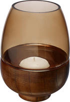 WINDLICHT - Braun/Naturfarben, Basics, Glas/Holz (11/15cm)