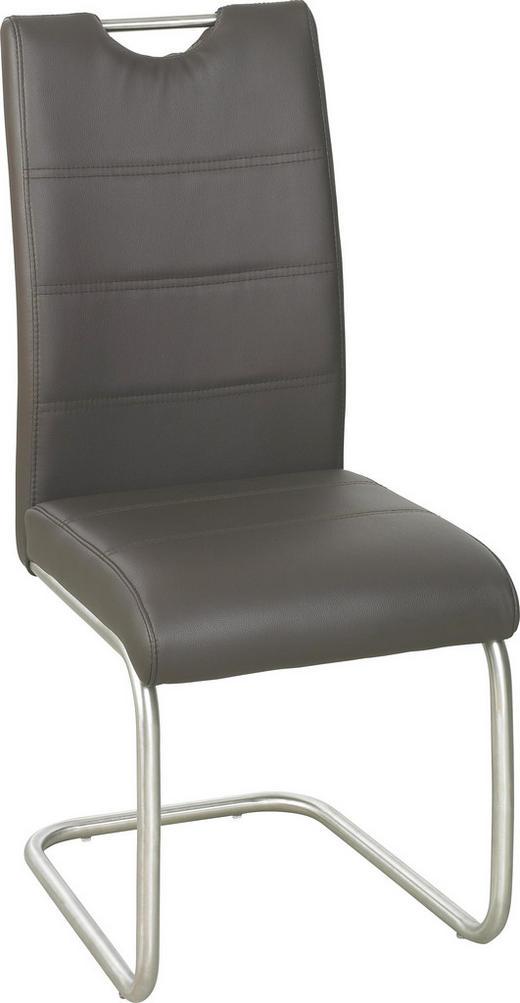 SCHWINGSTUHL Lederlook Braun, Edelstahlfarben - Edelstahlfarben/Braun, Design, Textil/Metall (43/98/58cm) - XORA