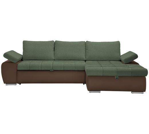 WOHNLANDSCHAFT in Textil Braun, Grün  - Braun/Nickelfarben, Design, Kunststoff/Textil (271/175cm) - Xora