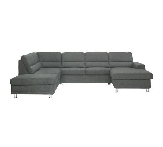 WOHNLANDSCHAFT Grau Webstoff  - Silberfarben/Grau, KONVENTIONELL, Textil/Metall (234/311/166cm) - Beldomo System