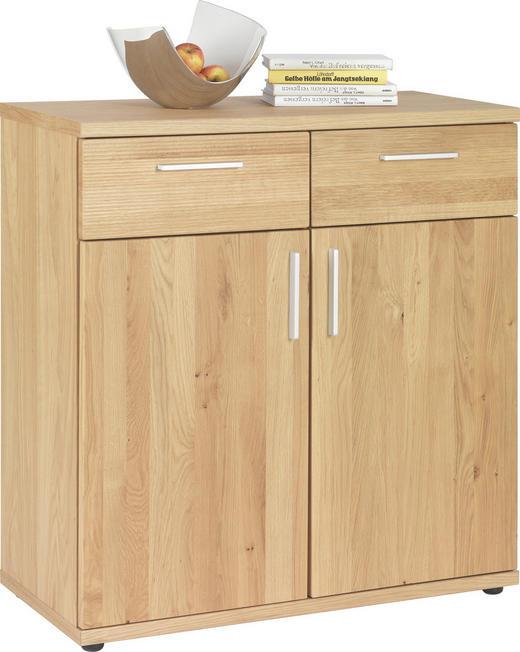 KOMMODE Wildeiche furniert, teilmassiv Eichefarben - Chromfarben/Eichefarben, Design, Holz/Kunststoff (84/87/39cm)