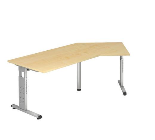SCHREIBTISCH in Metall, Holzwerkstoff  - Silberfarben/Ahornfarben, KONVENTIONELL, Holzwerkstoff/Metall (113/210cm)