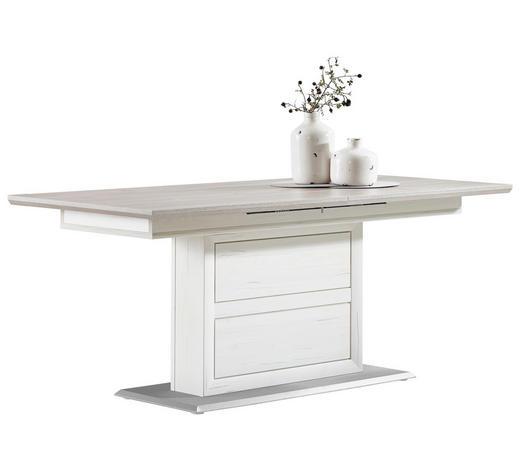 ESSTISCH rechteckig Grau, Silberfarben, Weiß  - Silberfarben/Weiß, LIFESTYLE (180(220)/90/76,5cm) - Hom`in