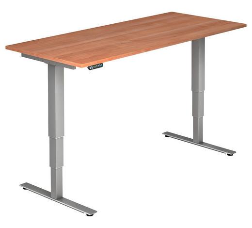 SCHREIBTISCH - Silberfarben/Nussbaumfarben, KONVENTIONELL, Holzwerkstoff/Metall (180/63,5-128,5/80cm)