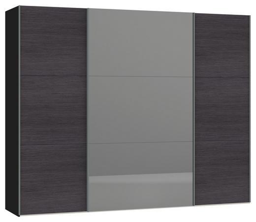 SCHWEBETÜRENSCHRANK 2-türig Anthrazit, Schwarz - Anthrazit/Silberfarben, Design, Glas/Holzwerkstoff (278/220/65cm) - Jutzler