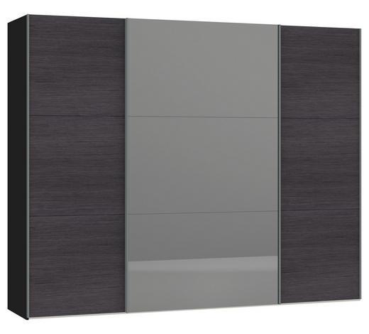 SCHWEBETÜRENSCHRANK in Anthrazit, Schwarz  - Anthrazit/Silberfarben, Design, Glas/Holzwerkstoff (278/220/65cm) - Jutzler