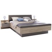POSTELOVÁ SESTAVA - barvy dubu/tmavě šedá, Design, kompozitní dřevo/textil (180/200cm) - Hom`in