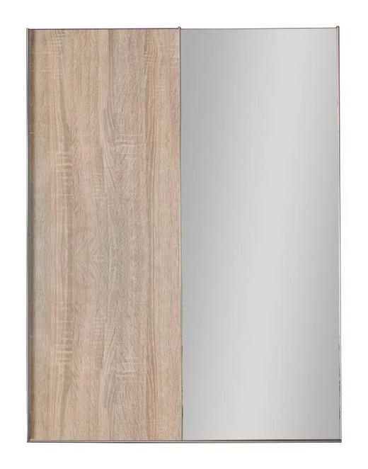 SCHWEBETÜRENSCHRANK 2-türig Eichefarben - Eichefarben/Alufarben, Design, Glas/Holzwerkstoff (150/216/68cm) - Hom`in