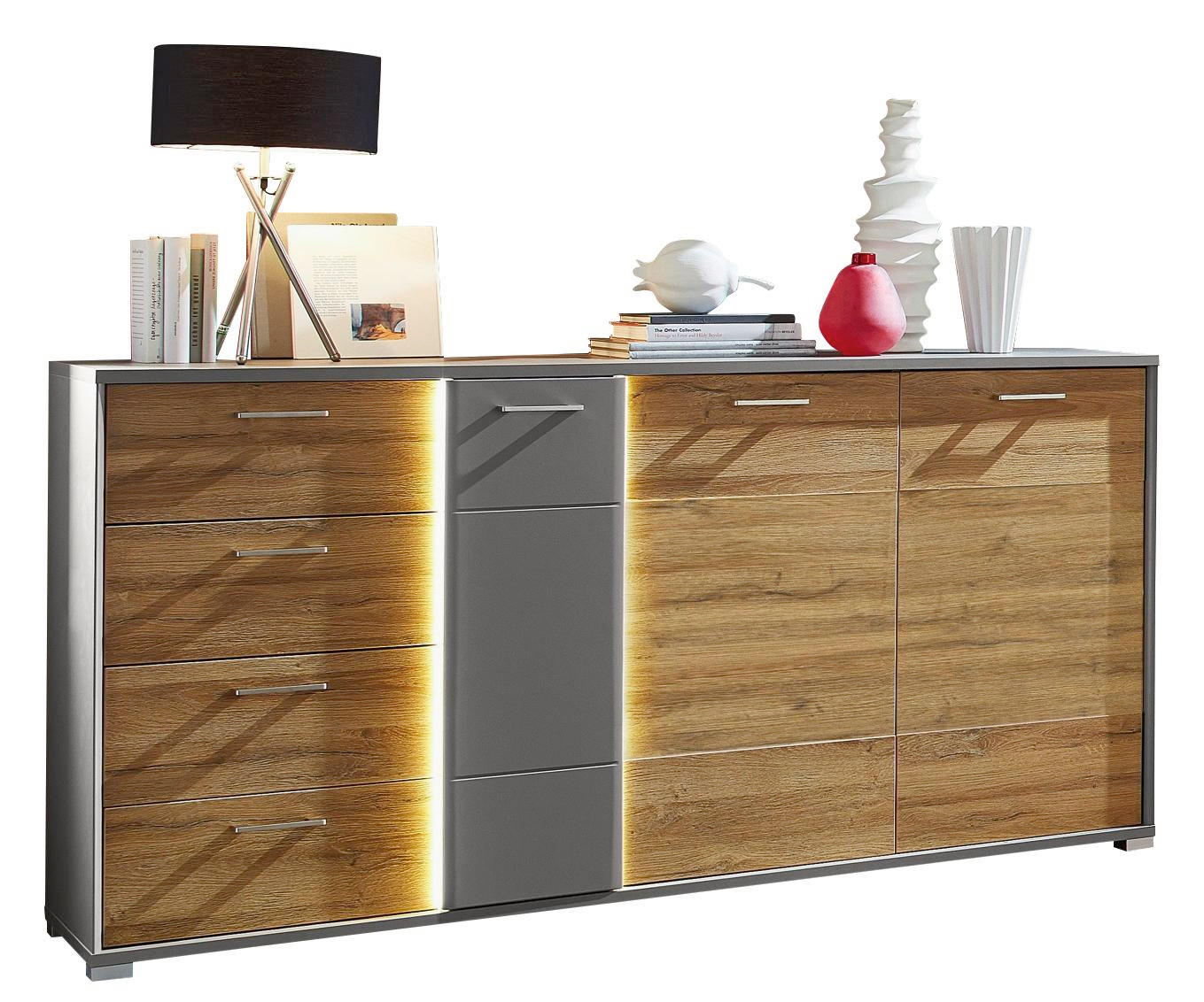 SIDEBOARD foliert Graphitfarben, Mooreichefarben - Mooreichefarben/Silberfarben, KONVENTIONELL, Holzwerkstoff/Metall (184/97/45cm)