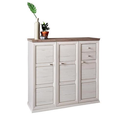 SCHUHSCHRANK 133,4/123,2/42,5 cm - Weiß/Grau, LIFESTYLE, Holzwerkstoff/Kunststoff (133,4/123,2/42,5cm) - Hom`in