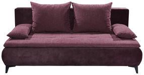 SCHLAFSOFA in Textil Aubergine  - Aubergine/Schwarz, KONVENTIONELL, Kunststoff/Textil (202/94/104cm) - Carryhome