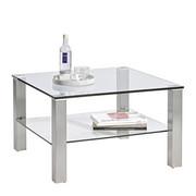 COUCHTISCH in Glas, Metall 75/75/43 cm - Edelstahlfarben, Design, Glas/Metall (75/75/43cm) - Cantus