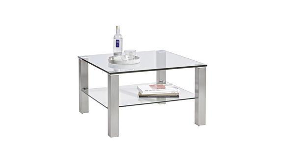 COUCHTISCH in Metall, Glas 75/75/43 cm   - Edelstahlfarben, Design, Glas/Metall (75/75/43cm) - Cantus