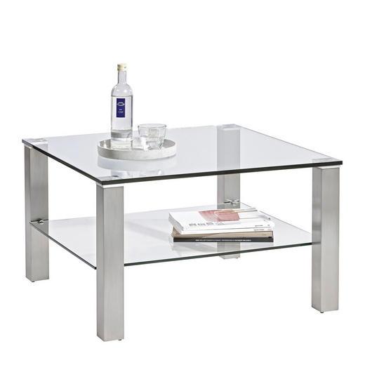 COUCHTISCH quadratisch Edelstahlfarben - Edelstahlfarben, Design, Glas/Metall (75/75/43cm) - Novel