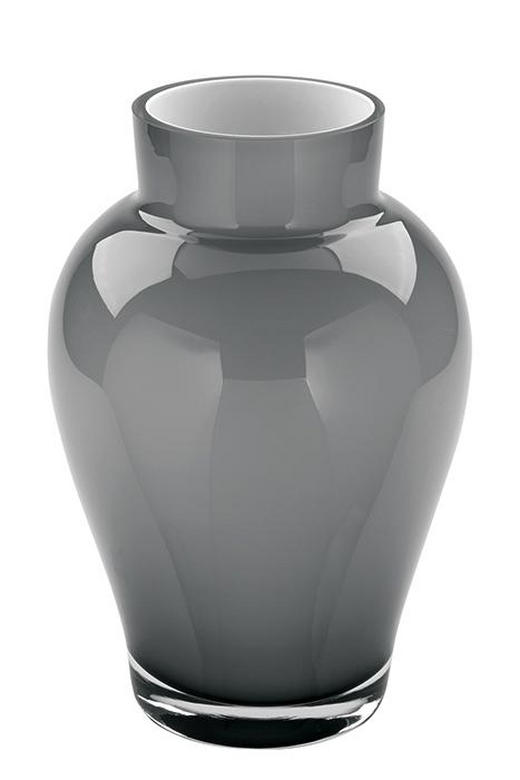 VASE 22 cm - Grau, Glas (22cm) - Fink