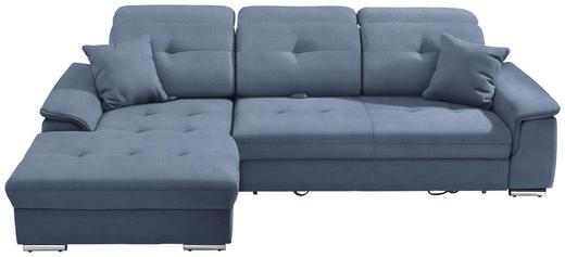 WOHNLANDSCHAFT in Textil Blau - Blau/Silberfarben, Design, Textil/Metall (187/279cm) - Cantus