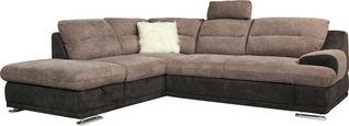 SEDEŽNA GARNITURA,  sivo rjava, peščena tekstil  - sivo rjava/krom, Design, kovina/tekstil (217/88/264cm) - Welnova