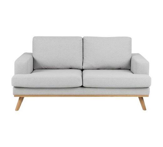 ZWEISITZER-SOFA in Textil Hellgrau - Eichefarben/Hellgrau, Design, Holz/Textil (165,0/81,0/92,0cm) - Carryhome
