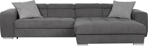 WOHNLANDSCHAFT Grau Webstoff - Chromfarben/Silberfarben, Design, Kunststoff/Textil (329/186cm) - Hom`in