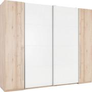 SCHWEBETÜRENSCHRANK in Weiß, Buchefarben  - Buchefarben/Alufarben, Design, Holzwerkstoff/Kunststoff (270/225/61cm) - Ti`me
