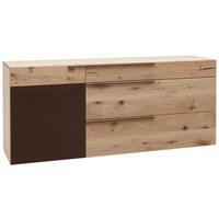 Sideboard in furniert, mehrschichtige Massivholzplatte (Tischlerplatte) Wildeiche Braun, Eichefarben - Eichefarben/Braun, Natur, Holz/Metall (192/82/51cm) - Voglauer