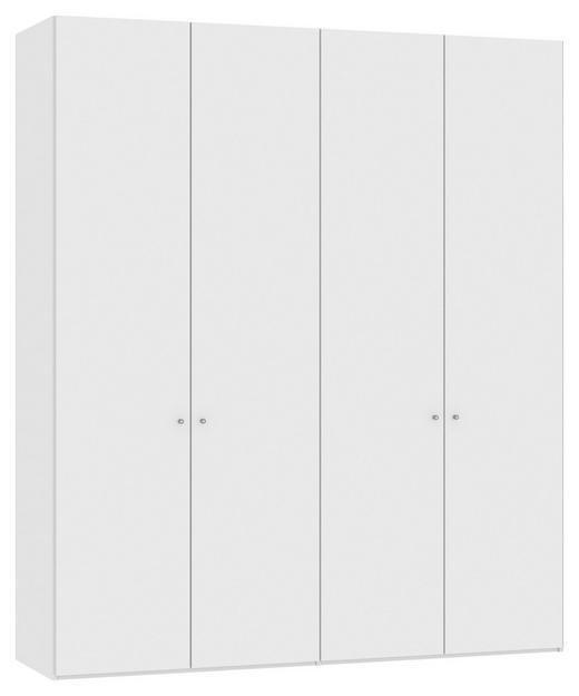 DREHTÜRENSCHRANK 4  -türig Weiß - Silberfarben/Weiß, Design, Holzwerkstoff/Metall (202,5/236/58,5cm) - JUTZLER