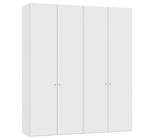 DREHTÜRENSCHRANK 4-türig Weiß  - Silberfarben/Weiß, Design, Holzwerkstoff/Metall (202,5/236/58,5cm) - Jutzler