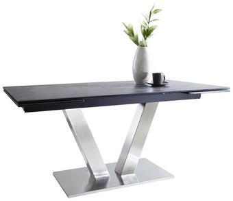 JÍDELNÍ STŮL, barvy nerez oceli, tmavě šedá - tmavě šedá/barvy nerez oceli, Design, kov/keramika (160(240)/90/76cm) - Novel