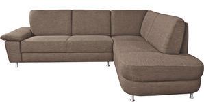 WOHNLANDSCHAFT Braun - Alufarben/Braun, Design, Textil/Metall (262/212cm) - Venda