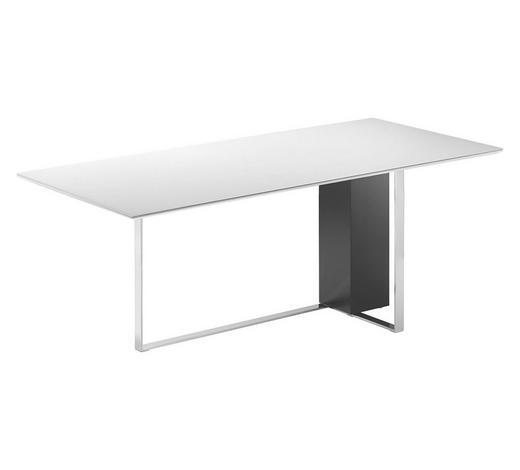 ESSTISCH in Metall, Glas, Holzwerkstoff 135(200)/90/74 cm   - Schwarz/Weiß, Design, Glas/Holz (135(200)/90/74cm) - Bacher