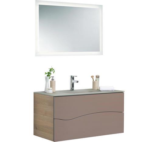 BADEZIMMER - Taupe/Eichefarben, Design, Glas/Holz (100cm)