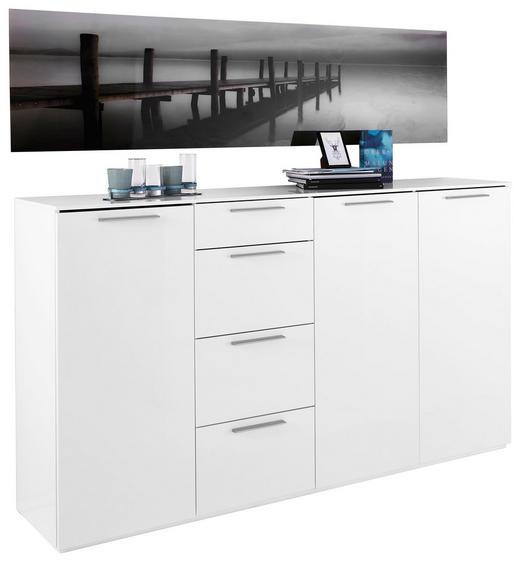 SIDEBOARD Hochglanz Weiß - Alufarben/Weiß, Design, Holzwerkstoff/Metall (198,8/111,5/40,8cm) - Carryhome