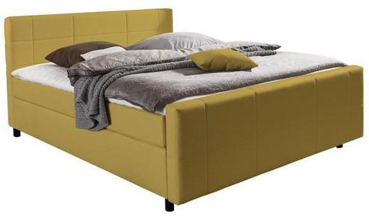 BOXSPRINGBETT Webstoff 180/200 cm  INKL. Matratze, Topper - Gelb/Schwarz, Design, Kunststoff/Textil (180/200cm) - Hom`in