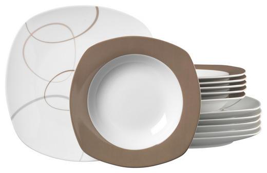 Porzellan  TAFELSERVICE  12-teilig - Dunkelbraun/Weiß, Basics, Keramik (27/21/27cm) - Ritzenhoff Breker