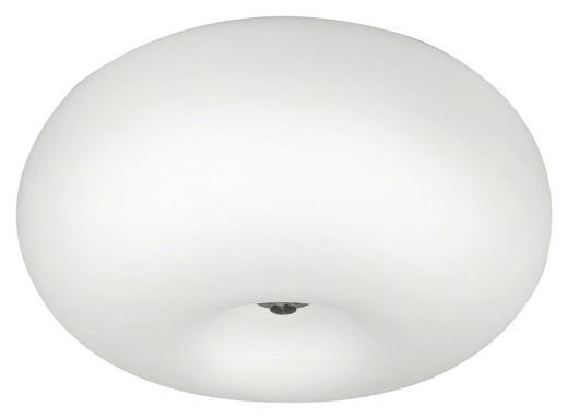 DECKENLEUCHTE - Weiß/Nickelfarben, KONVENTIONELL, Glas/Metall (37/21cm)