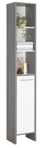 HOCHSCHRANK Weiß - Graphitfarben/Alufarben, Design, Holzwerkstoff/Kunststoff (33/195,5/28cm) - Xora