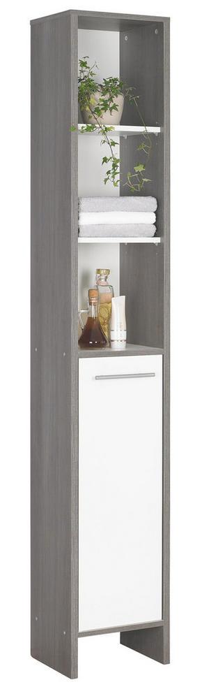 HÖGSKÅP - vit/alufärgad, Design, träbaserade material/plast (33/195,5/28cm) - Low Price