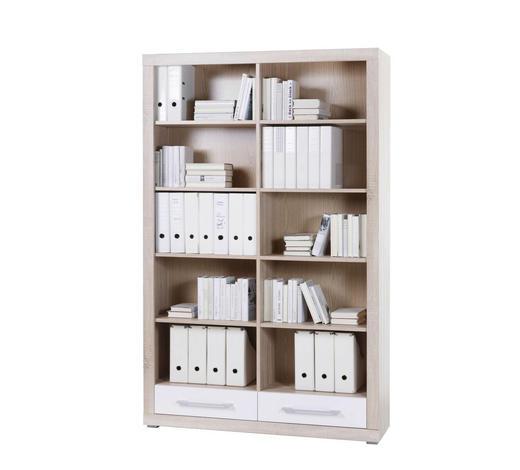 PISARNIŠKI REGAL 124/198/36 cm bela, hrast sonoma  - aluminij/bela, Design, umetna masa/leseni material (124/198/36cm) - Xora