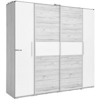 DREHTÜRENSCHRANK in Eichefarben, Weiß - Eichefarben/Alufarben, Design, Holzwerkstoff/Kunststoff (200,1/190,5/61,6cm) - Carryhome