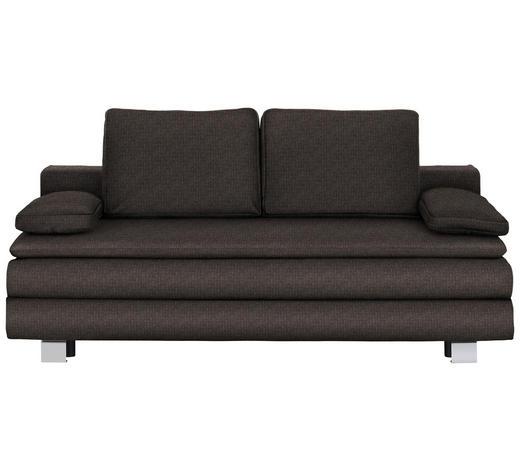 BOXSPRINGSOFA in Textil Braun, Grau  - Chromfarben/Braun, Design, Textil/Metall (204/95/100cm)