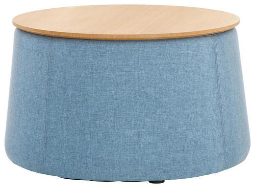 HOCKER in Holz, Textil Blau, Eichefarben - Blau/Eichefarben, Design, Holz/Textil (77/43cm) - Innovation