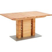 ESSTISCH in Holz, Metall 120(165)/90/75 cm - Edelstahlfarben/Buchefarben, KONVENTIONELL, Holz/Holzwerkstoff (120(165)/90/75cm) - Moderano